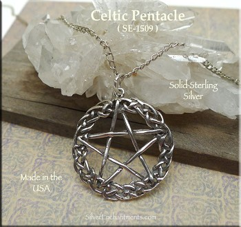 Sterling Silver Celtic Pentacle Pendant, Celtic Pentagram