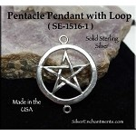 Sterling Silver Pentacle with Loop, Connector 25mm