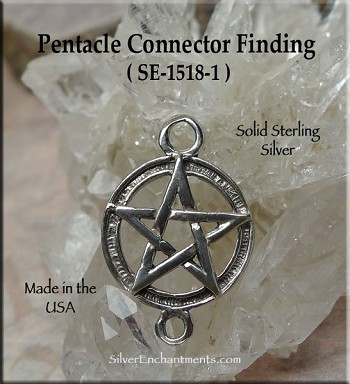 Sterling Silver Pentacle with Loop, Connector 14mm