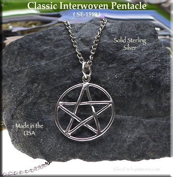 Sterling Silver Pentacle Charm-Pendant, Classic Interwoven