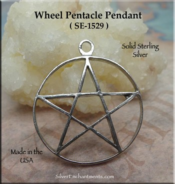 Sterling Silver Traditional Wheel Pentacle Pendant