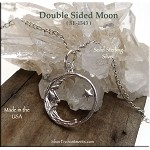 Sterling Silver Moon Charm, Double-sided