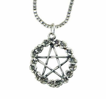 Sterling Silver Flower Pentacle Pendant Necklace