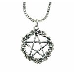 Sterling Silver Pentacle Pendant with Flower Surround