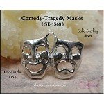 Sterling Silver Comedy Tragedy Pendant, Drama Masks