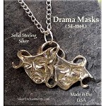 Sterling Silver Comedy-Tragedy Pendant, Medieval Drama Masks