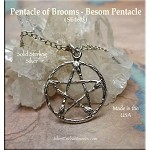 Sterling Silver Pentacle of Besoms Charm, Broom Pentacle