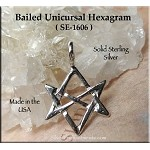 Sterling Silver Hexagram, Bailed Unicursal Thelema