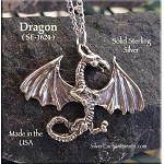 Sterling Silver Dragon Pendant with Spread Wings, Draco