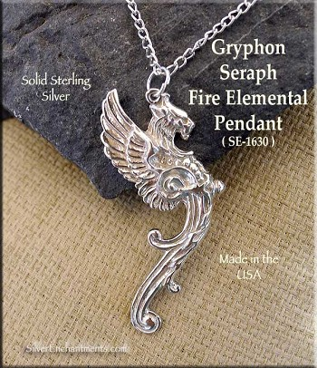 Sterling Silver Gryphon Pendant, Large Griffin Seraph