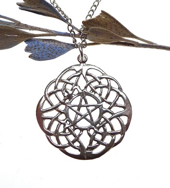 Sterling Silver Celtic Pentacle Pendant, Large Lace Knotwork