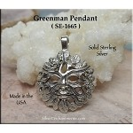 Sterling Silver Greenman Necklace , Green Man Pendant, Nature God Jewelry, Pagan Jewelry
