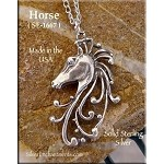 Sterling Silver Horse Pendant, Filigree Horse