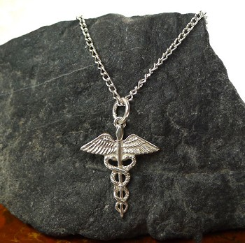 Sterling Silver Caduceus Necklace