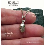 Sterling Silver Skull Charm, 3D Small