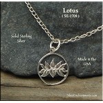 Sterling Silver Lotus Charm, Lotus in Circle