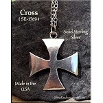 Sterling Silver Iron Cross Pendant, Maltese Crusader Cross