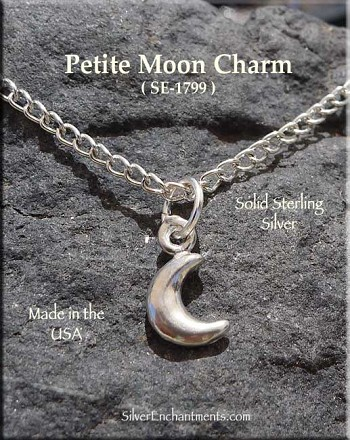 Sterling Silver Crescent Moon Charm, Small 3D