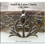 Sterling Silver Ankh and Lotus Charm
