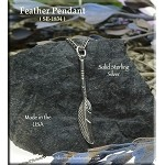 Sterling Silver Long Feather Pendant, Southwestern Stem Feather Necklace