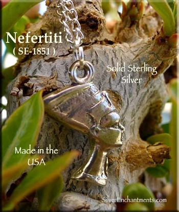 Sterling Silver Nefertiti Necklace, Queen of Ancient Egypt Jewelry