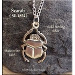 Sterling Silver Scarab Pendant, Egyptian Beetle
