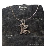 Sterling Silver Dragon Necklace, Classic Dragon Jewelry