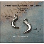Sterling Silver Moon Charm, 3D Crescent Moon Jewelry, 12x6mm