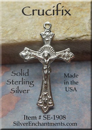 Sterling Silver Crucifix Pendant, Christian Jewelry