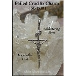 Sterling Silver Crucifix Charm or Necklace, Bailed Crucifix Jewelry