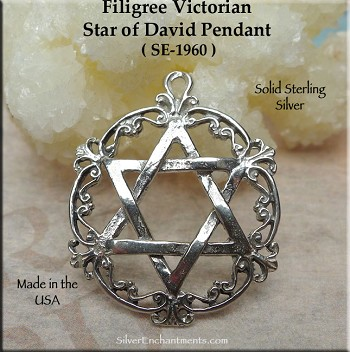 Sterling Silver Star of David Pendant, Victorian Jewish Star Necklace