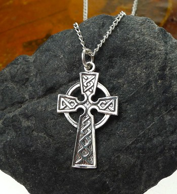 Sterling Silver Celtic Cross Pendant, 32x18mm