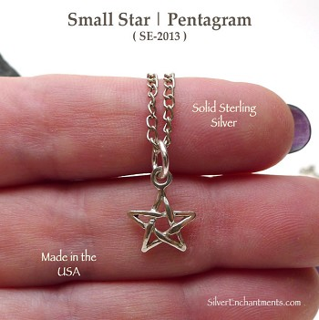 Sterling Silver Star Necklace, Small Pentagram