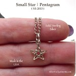 Sterling Silver Star Necklace, Small Pentagram Jewelry