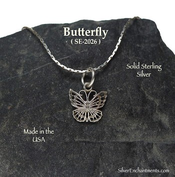 Sterling Silver Monarch Butterfly Necklace, Butterfly Charm
