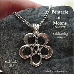 Sterling Silver Pentacle of Moons Pendant with Fancy Bail, Crescent Moon Pentagram Necklace