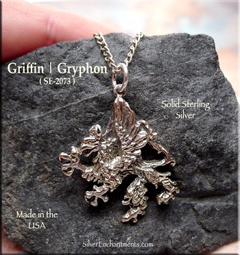 Sterling Silver Gryphon Pendant, Griffin Necklace