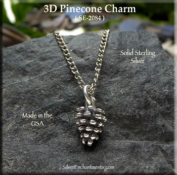 Sterling Silver Pinecone Charm, 3D