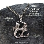 Sterling Silver Pisces Charm, Astrology Zodiac