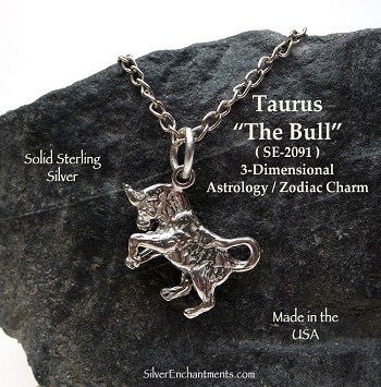 Sterling Silver Taurus Charm, The Bull Astrology Jewelry