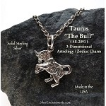 Sterling Silver Taurus Charm, Taurus Zodiac Astrology Jewelry, The Bull
