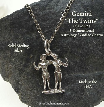 Sterling Silver Gemini Charm, The Twins Astrology Jewelry