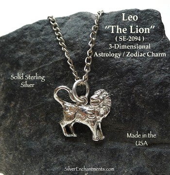 Sterling Silver Leo Charm, Leo Zodiac Astrology Jewelry, The Lion