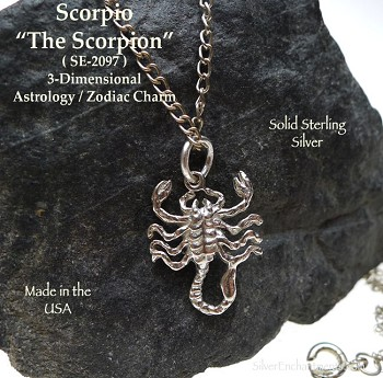 Sterling Silver Scorpio Charm, Scorpion Astrology Zodiac Necklace