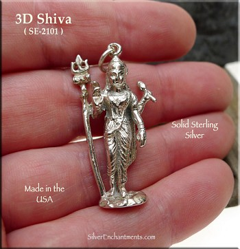 Sterling Silver Lord Shiva Pendant, 3D Shiva Jewelry