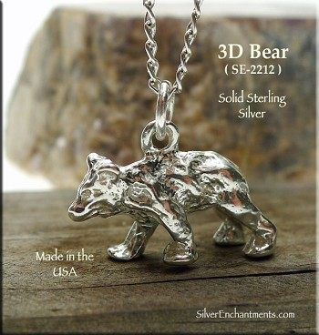 Sterling Silver 3D Bear Charm