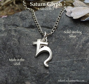 Sterling Silver Saturn Charm, Astrological Planet Glyph Necklace