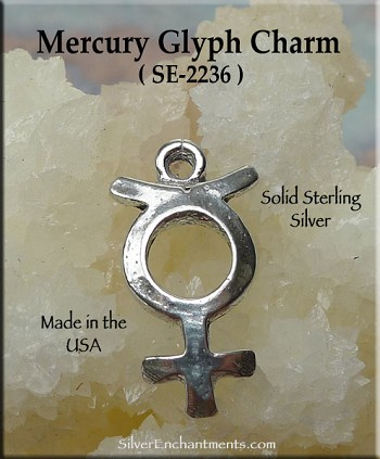 Sterling Silver Mercury Charm, Mercury Planet Necklace, Astrology Glyph Jewelry