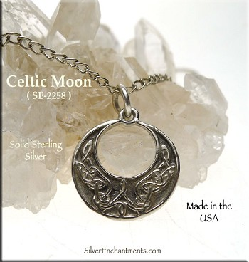 Sterling Silver Celtic Moon Charm, Moon with Celtic Knotwork