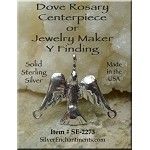 Sterling Silver Dove Jewelry Connector, Holy Spirit Dove Rosary Finding, 20x24mm
